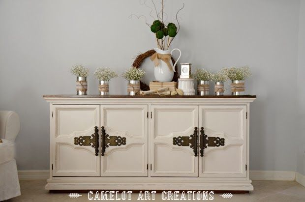 Camelot Art Creations: Vintage Buffet Makeover~~Love the Hardware ...