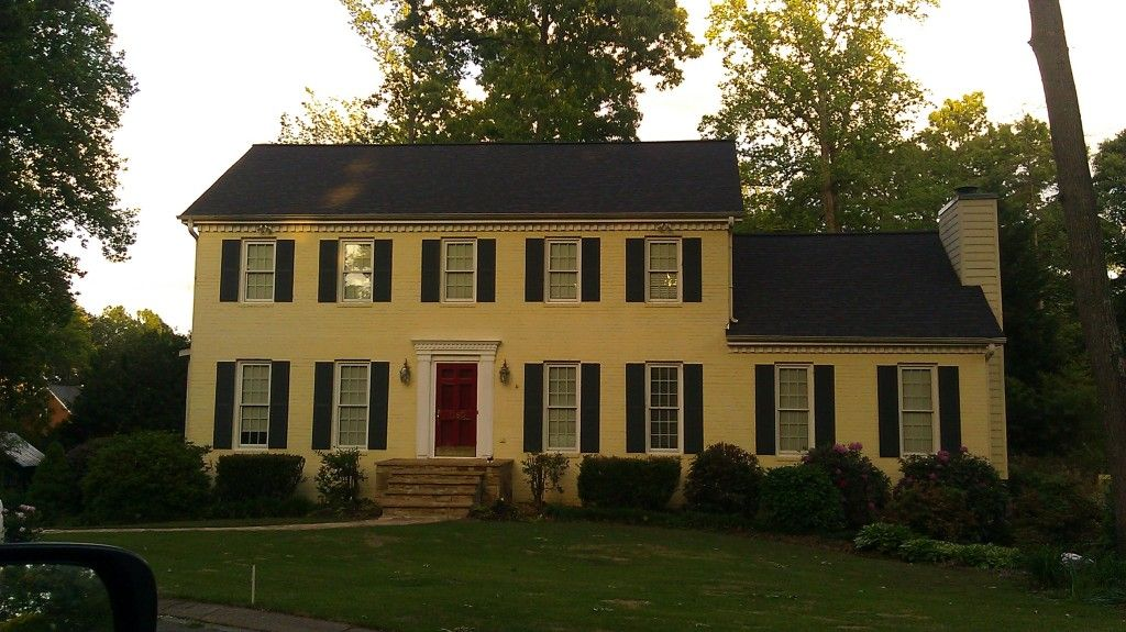 Yellow Brick House With Red Door Now To Find This And Make It Ours Yellow House Exterior Yellow Brick Houses Colonial House Exteriors