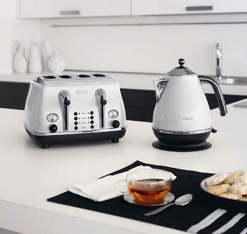 Download Wallpaper White Kitchen Set Kettle Toaster Microwave