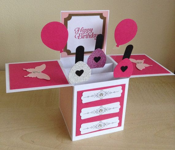 Handmade Card In A Box Butterfly Birthday Greeting Card Pink 18th