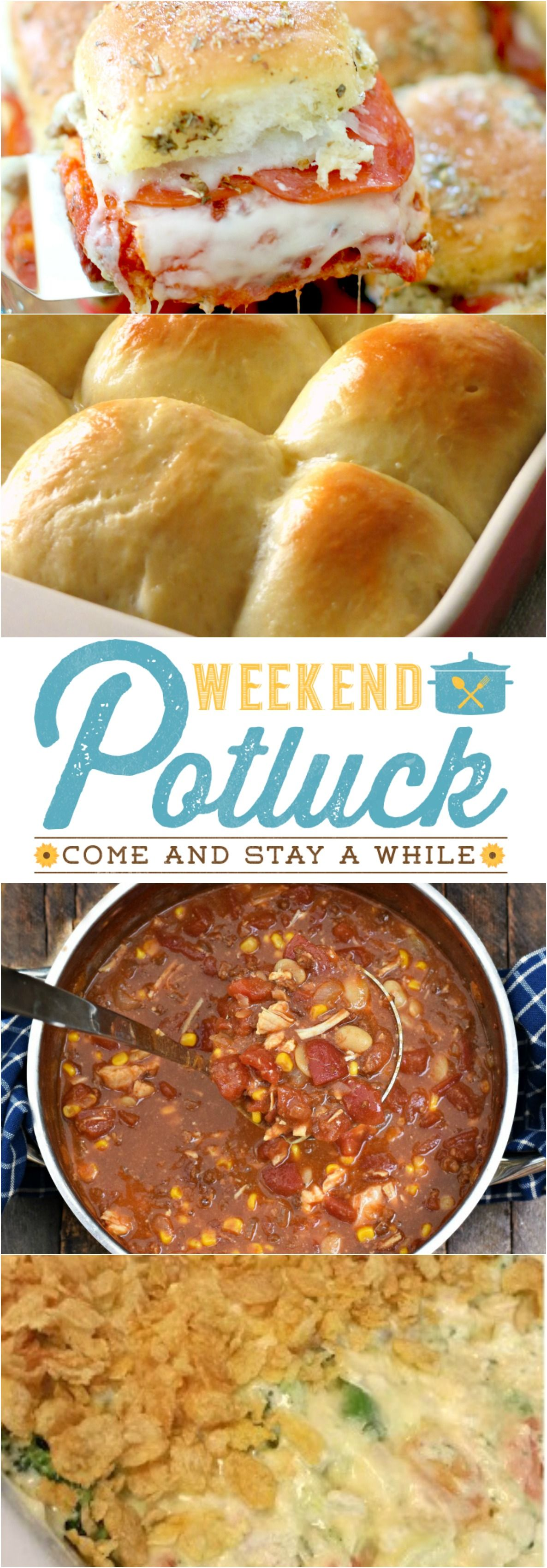 Weekend Potluck at The Country Cook. Featured recipes include: Pizza Pull-Apart Sliders, Light & Sweet Fluffy Rolls, Famous Alabama Stew & Mom's Creamy Chicken Casserole