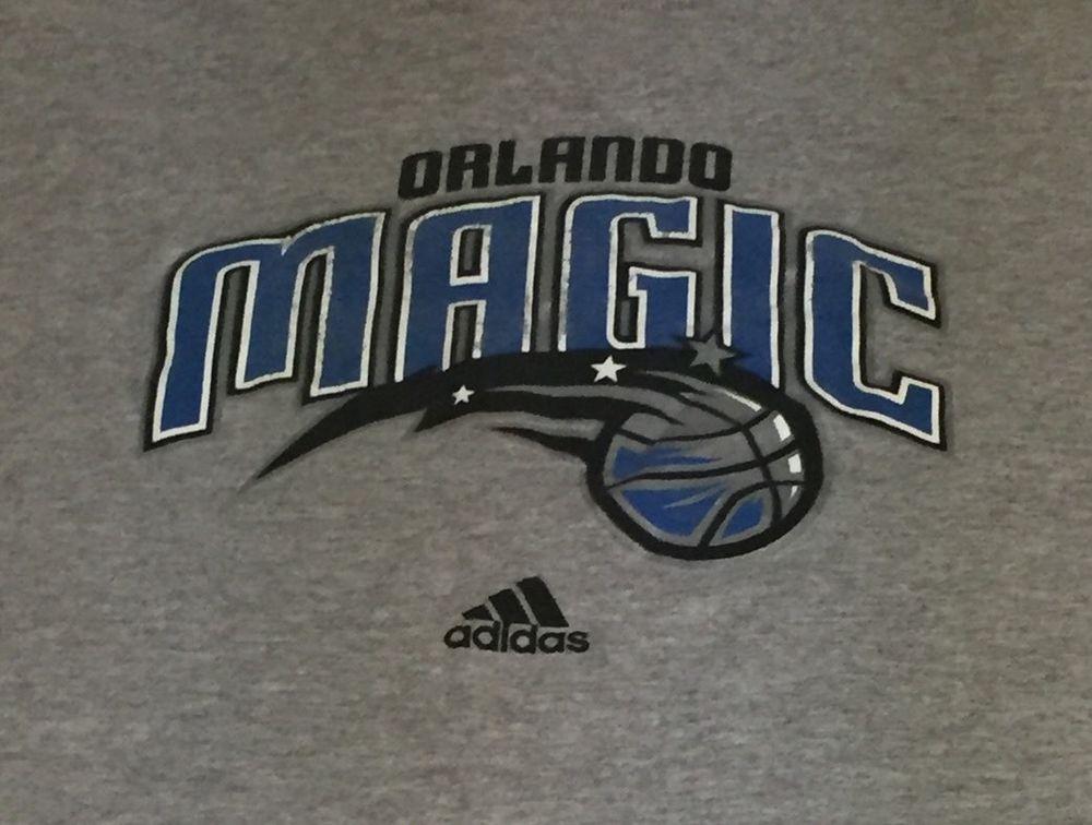 Orlando Magic Adidas Gray Medium Short Sleeve Tee T-Shirt L1 #adidas #OrlandoMagic