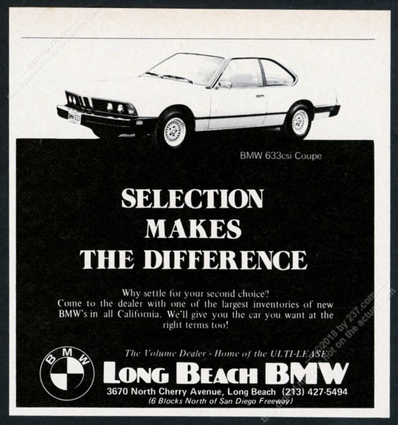 1978 Bmw 633csi 633 Csi Car Photo Unusual Long Beach Dealer Vintage