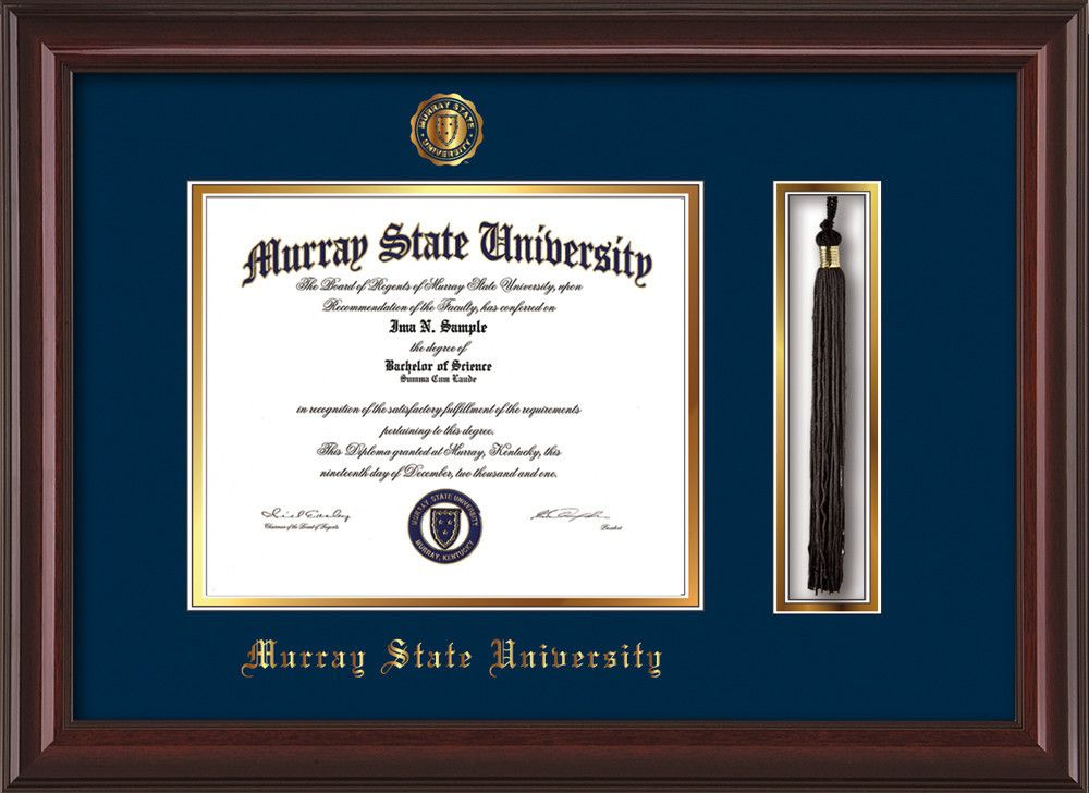 Murray State University Diploma Frame - Mahogany Lacquer - w/Murray ...