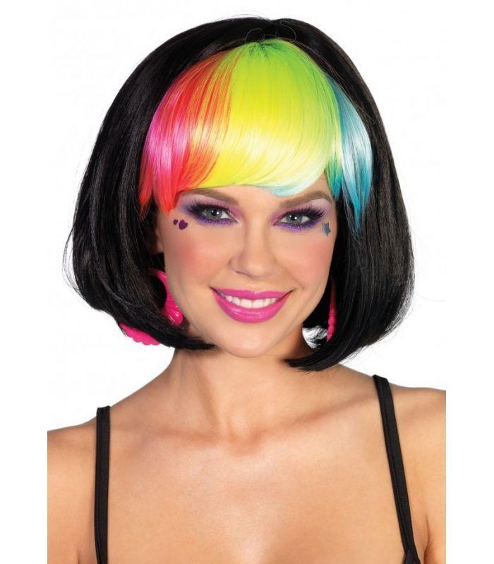 Rainbow Bang Bob Wig - Black