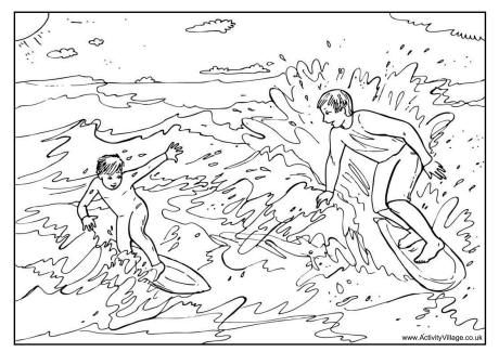 Surfing Colouring Page Summer Coloring Pages