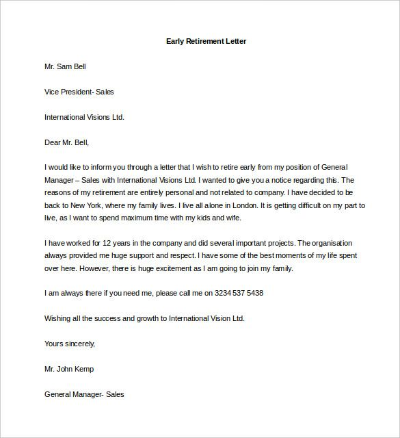 Retirement Letter Of Resignation from i.pinimg.com