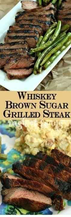 Whiskey Brown Sugar Grilled Steak  #grilledsteakmarinades