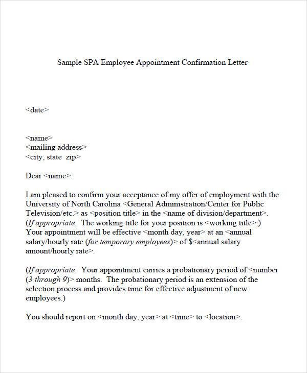 Employee Appointment Confirmation Letter Change Beneficiary Form
