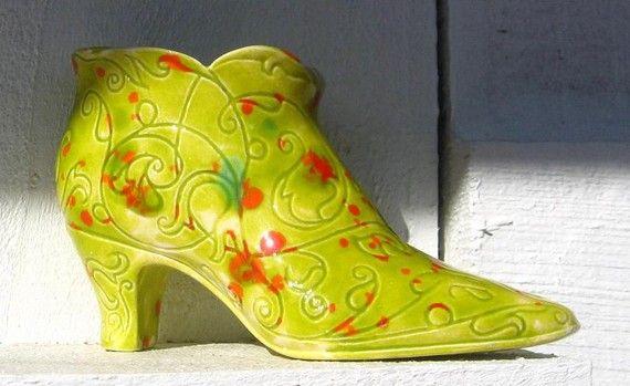 Vintage Ceramic Green Shoe