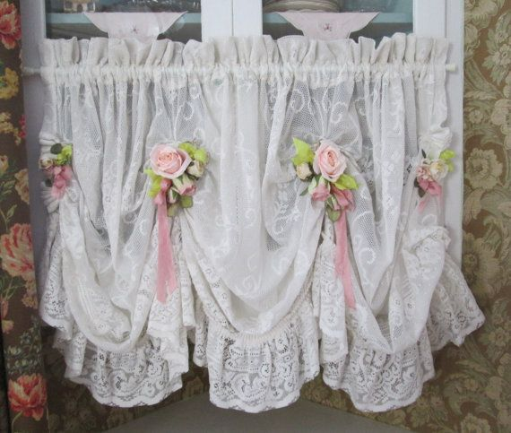 Shabby Chic Ruffled Lace Valance Swag Curtain Swag