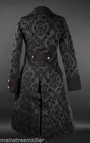 details zu damen mantel jacke pirate princess coat brokat victorian gothic cute rq black. Black Bedroom Furniture Sets. Home Design Ideas