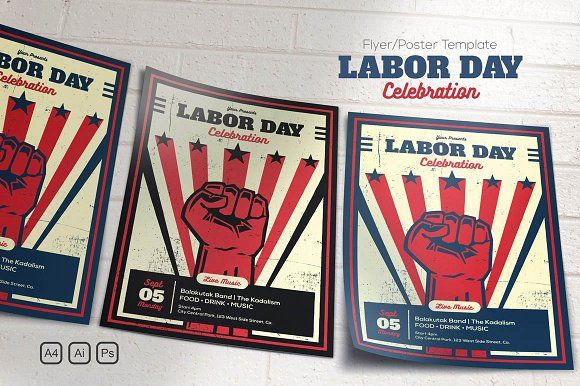 Labor Day Celebration by me55enjah on @creativemarket Flyers - labour day flyer template