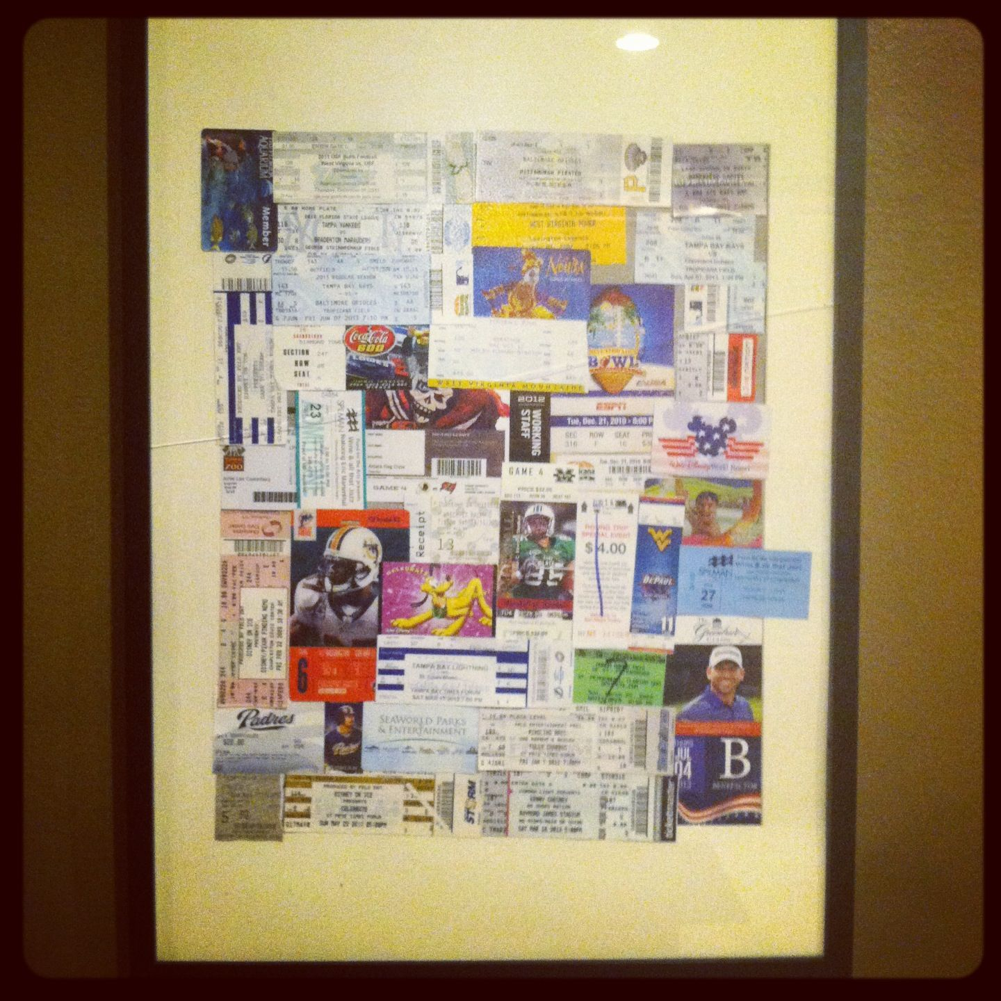 My tickets in a ikea frame | Things I have done | Pinterest