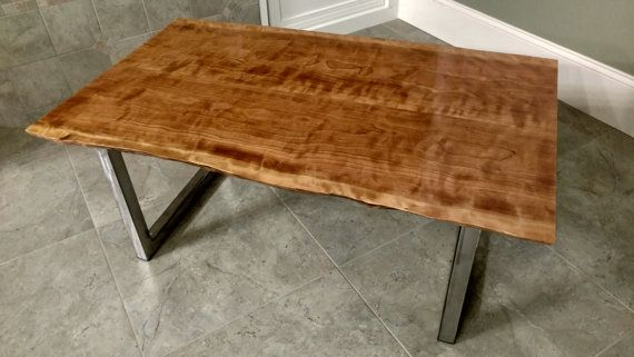 Amazing Curly Cherry Wood Slab Coffee Table Complete With Brushed Silver Metal Legs This Has Figure And A Beautiful Live