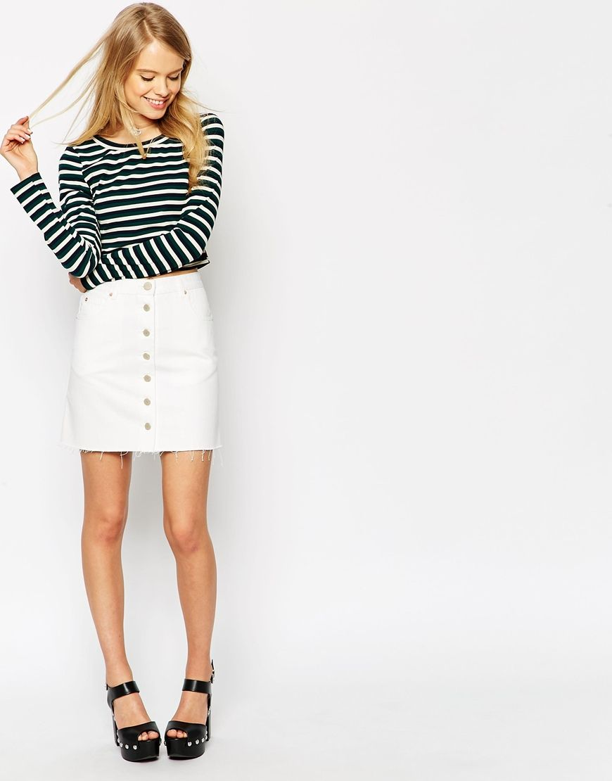 Image 1 of ASOS Denim Dolly A-line Button Through Mini Skirt in ...