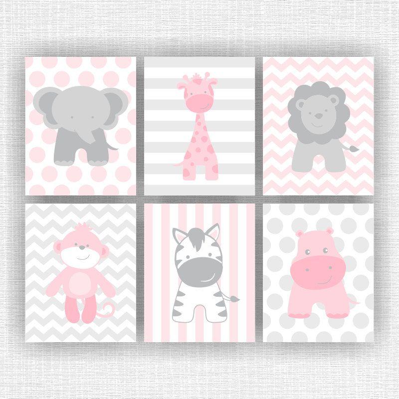 rosa und grau dschungeltiere kindergarten printable elefant kinderzimmer pinterest. Black Bedroom Furniture Sets. Home Design Ideas