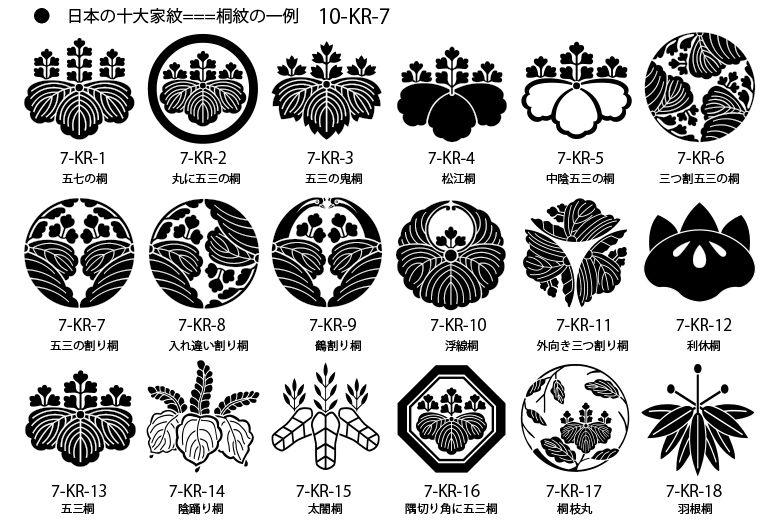 十大家紋 桐紋の一例 家紋 日本のデザイン 和風 デザイン