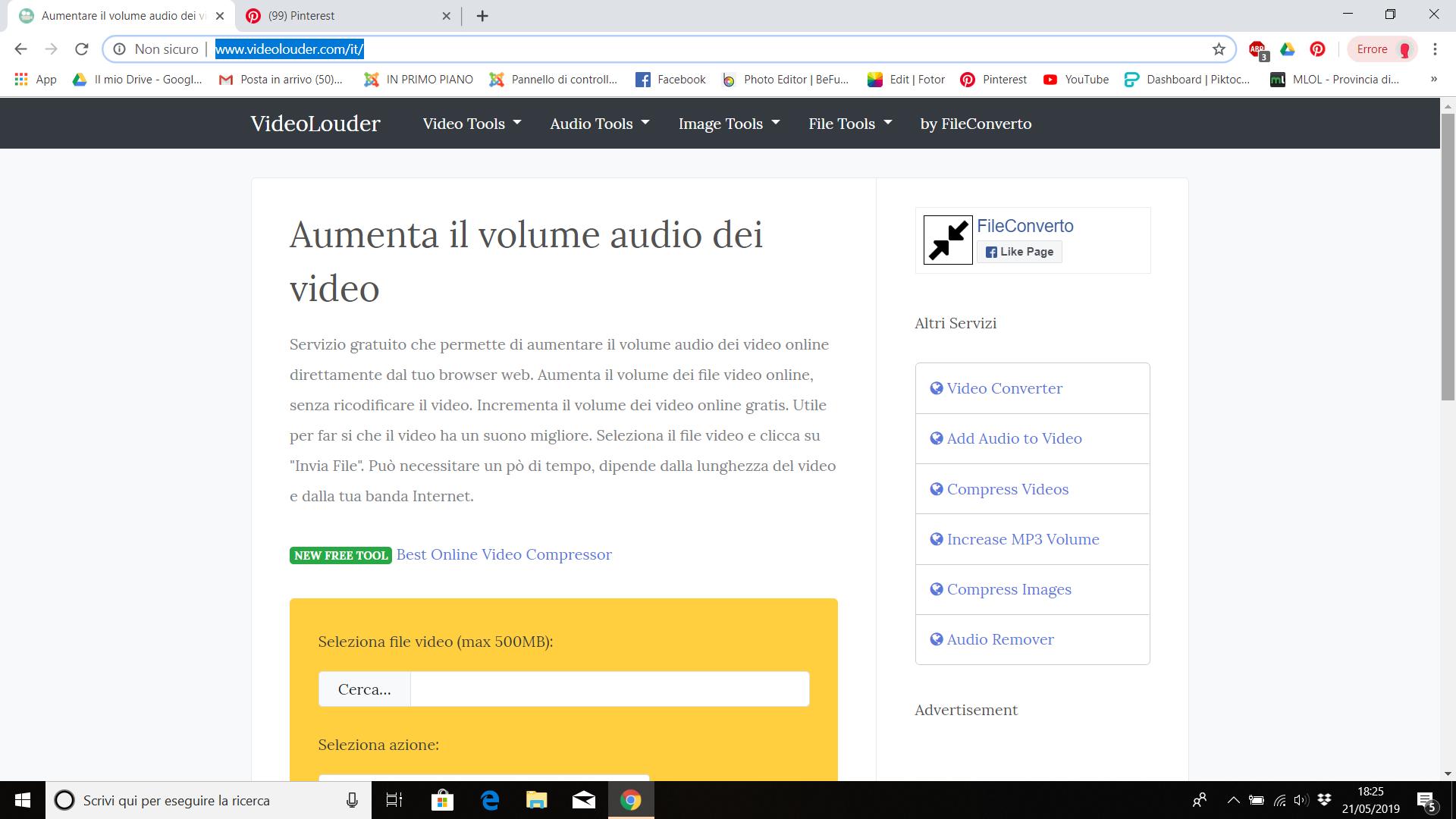 Aumentare Volume Video