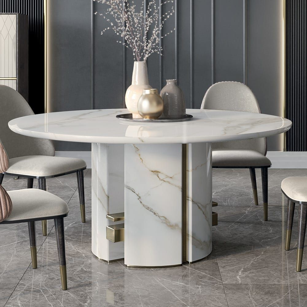Luxury Italian Designer Contemporary Round Marble Dining Table