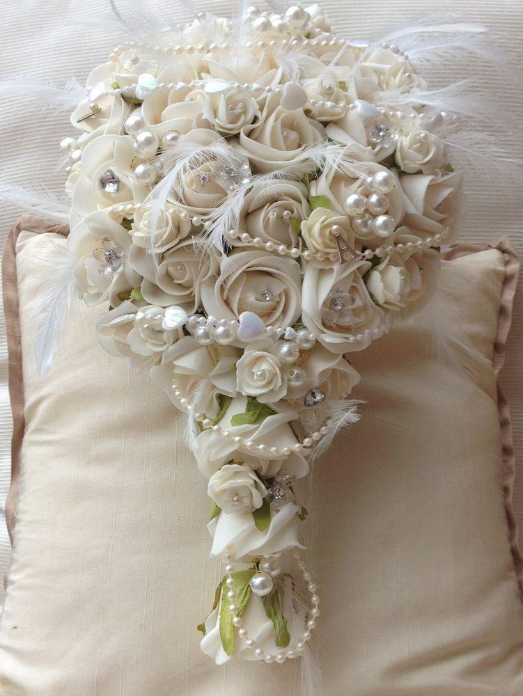 Ivory Roses Wedding Flowers Teardrop Brides Bouquet Pearls
