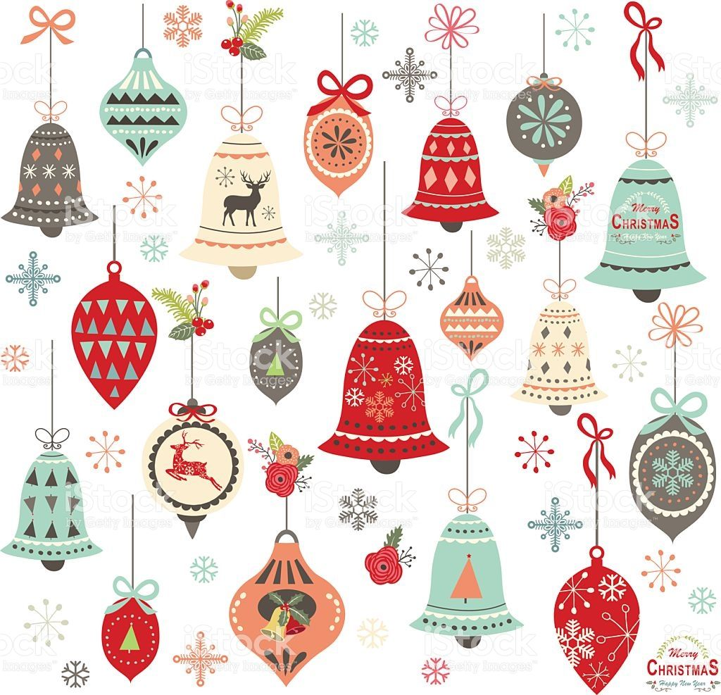A Vector Illustration Of Vintage Christmas Bell Design Elements Christmas Watercolor Christmas Clipart Retro Christmas