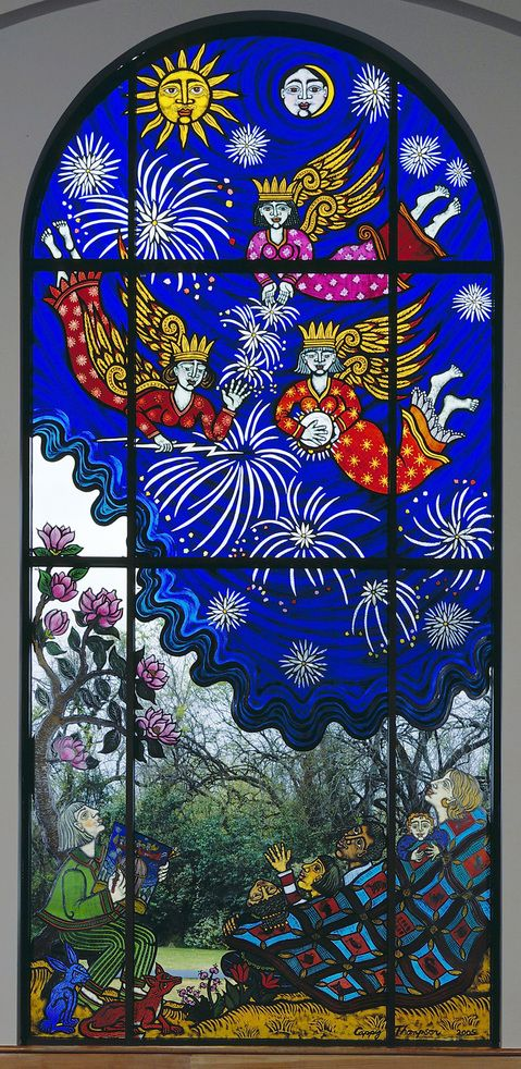Stars Falling on Alabama: We Are Enraptured by the Celestial Fireworks of the Muses, detail - 2005 - Vitreous enamels on glass.