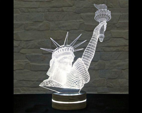 Statue Of Liberty 3d Led Lamp Decorative Lamp Home Decor Table Lamp Office Decor Plexiglass Art Art Deco Lamp Acr Art Deco Lamps 3d Led Lamp Lamp Decor