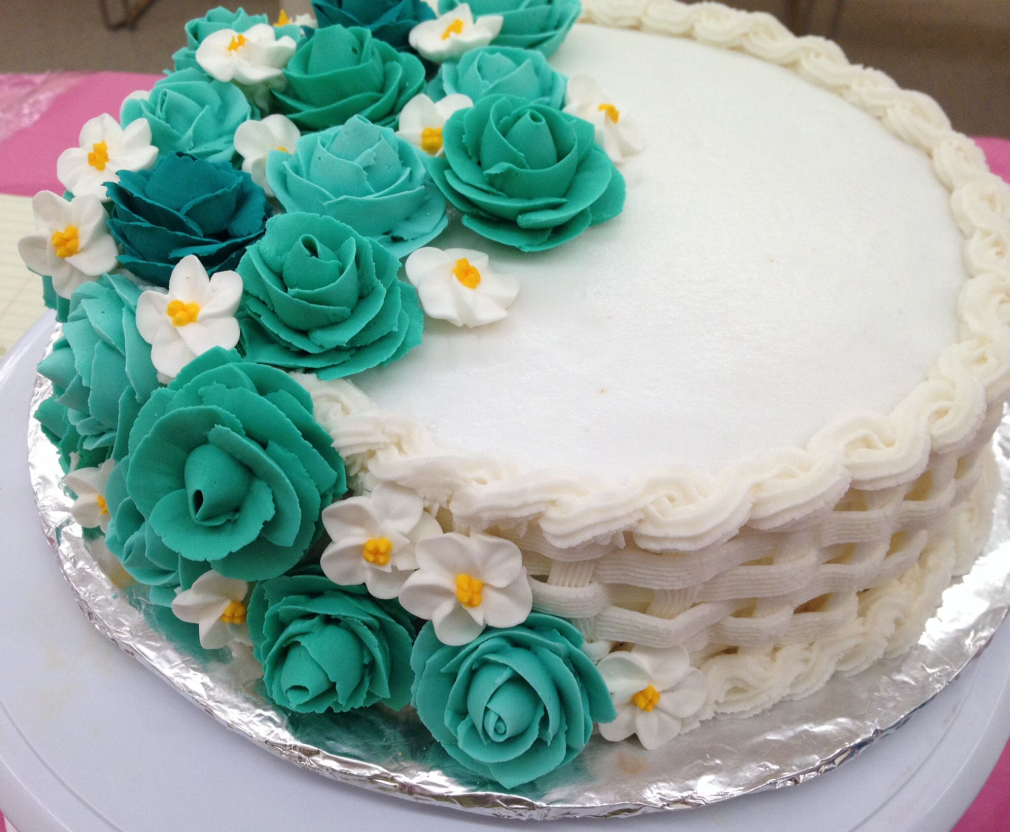 Wilton course 2 cake completed! Lemon cake with raspberry filling, royal icing flowers and ...