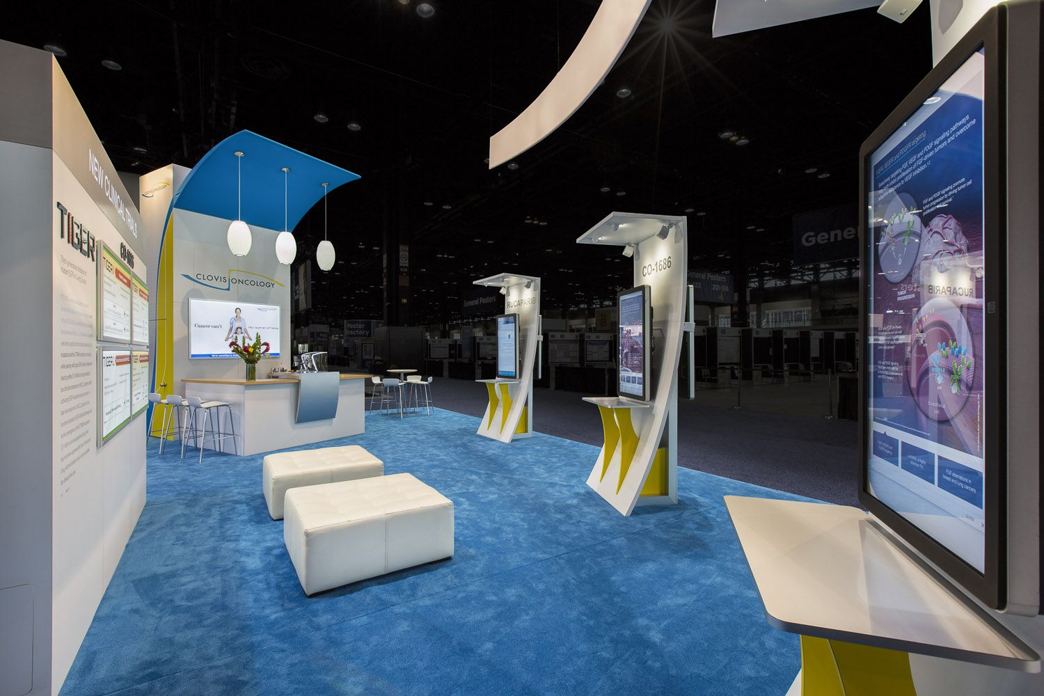 Large touchscreen technology set this trade show booth apart at ASCO 2014  for client, Clovis