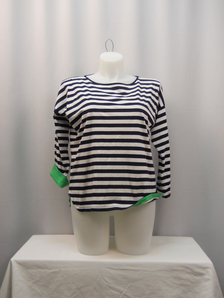 American Living Navy/White Striped 3/4 Sleeves Scoop Neck Top Plus Size XXL #AmericanLiving #KnitTop #Casual
