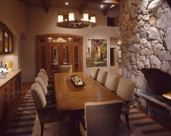 Extra Long Formal Dining Room Table: Comedor Con Pared De Piedra