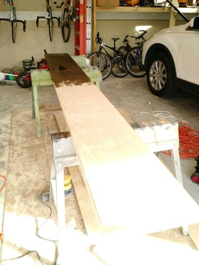 Top shelf sanded and time for stain
