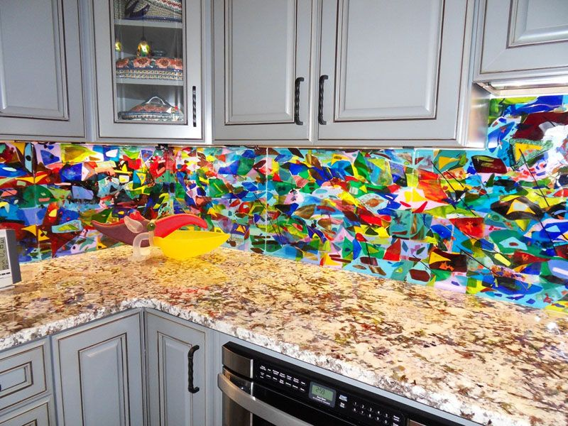 Colorful Abstract Kitchen Backsplash | Designer Glass Mosaics