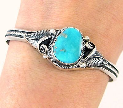 ROIE-JAQUE-Navajo-Handmade-Solid-925-Sterling-Silver-Turquoise-Cuff-Bracelet-J