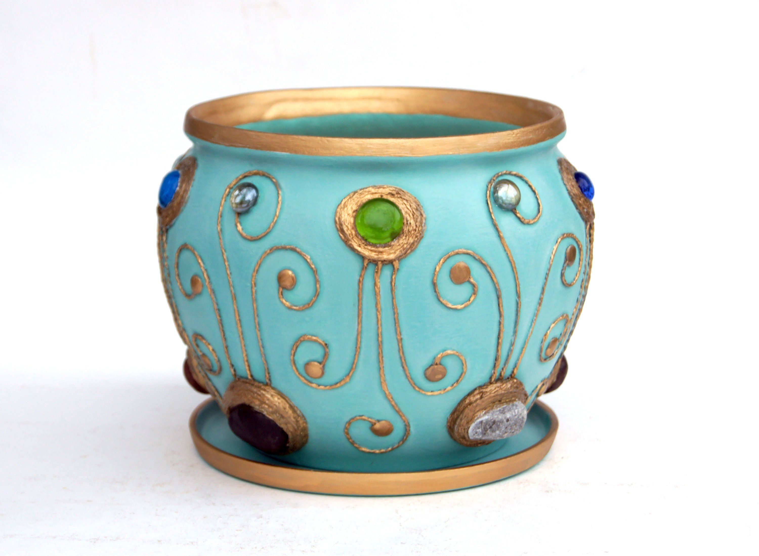 Large Hand Painted Ceramic Plant Pot Indoor Turquoise Flower Pot Pottery Handmade Planter Plant Holder Cache Pot Gardening Birthday Gift Her