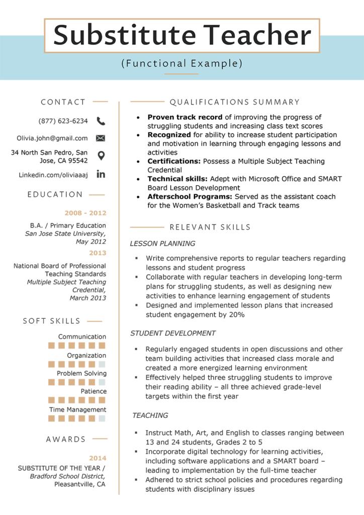 Resume Skills Section Teacher resume examples, Resume