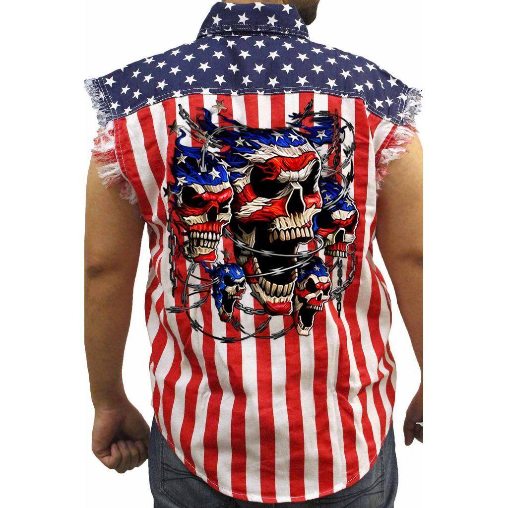 Men S Usa Flag Sleeveless Denim Shirt Patriotic Skulls With Chains Biker Sleeveless Denim Shirts Biker Shirts American Shirts