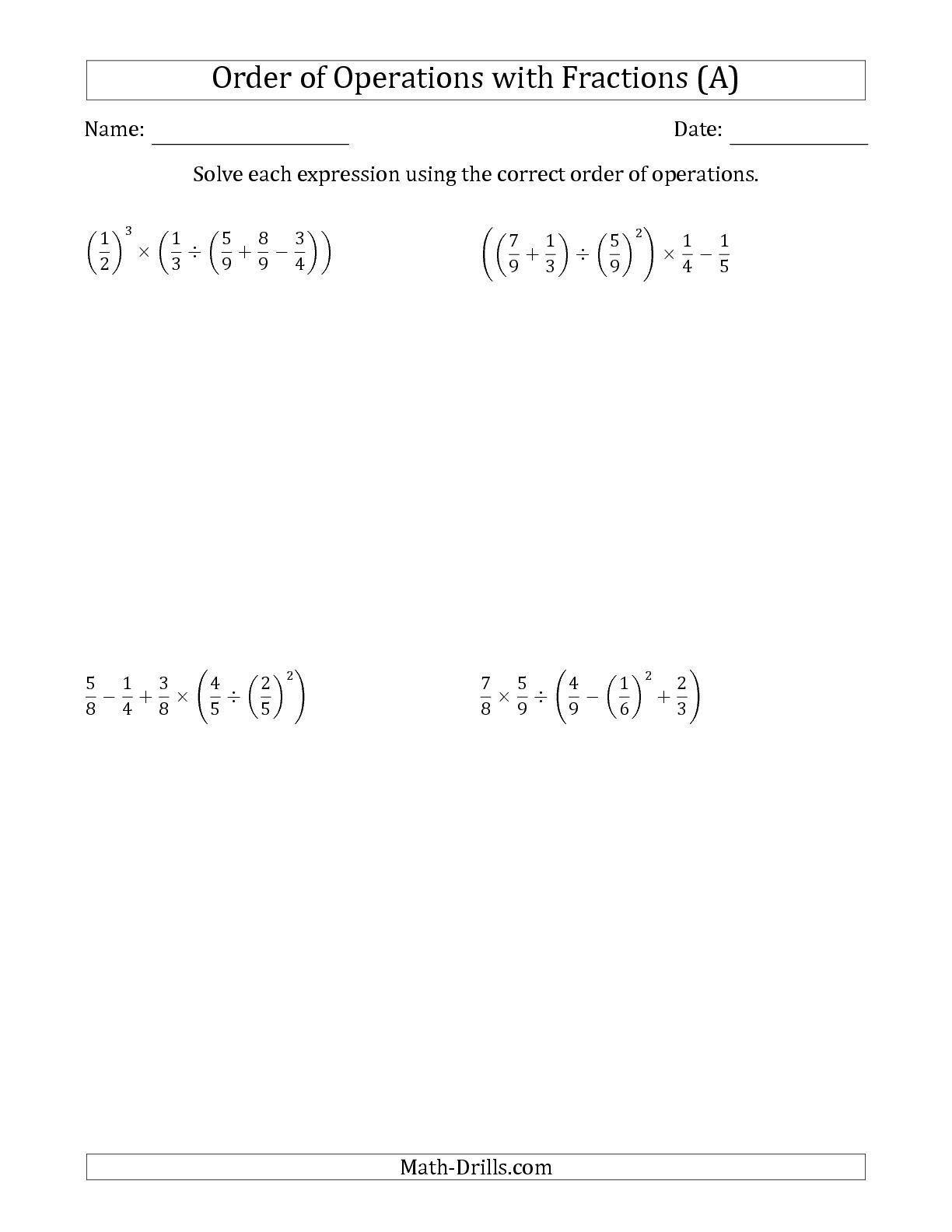 Revised The Order Of Operations With Positive Fractions Five Steps A Math Worksheet From