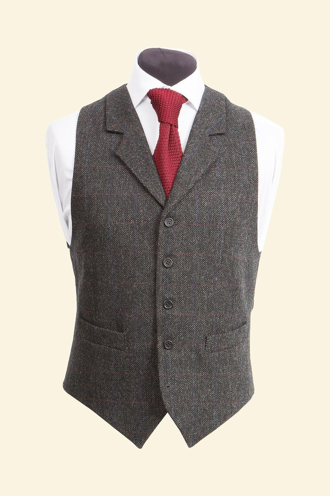 Charcoal Lambswool Red Windowpane Tweed Edward Waistcoat - Tweed Suit Waistcoats - Clothing - Men Walker Slater Tweed Specialists