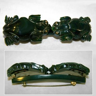 Green Bakelite FROGS Pin/Scarf Clip Combo