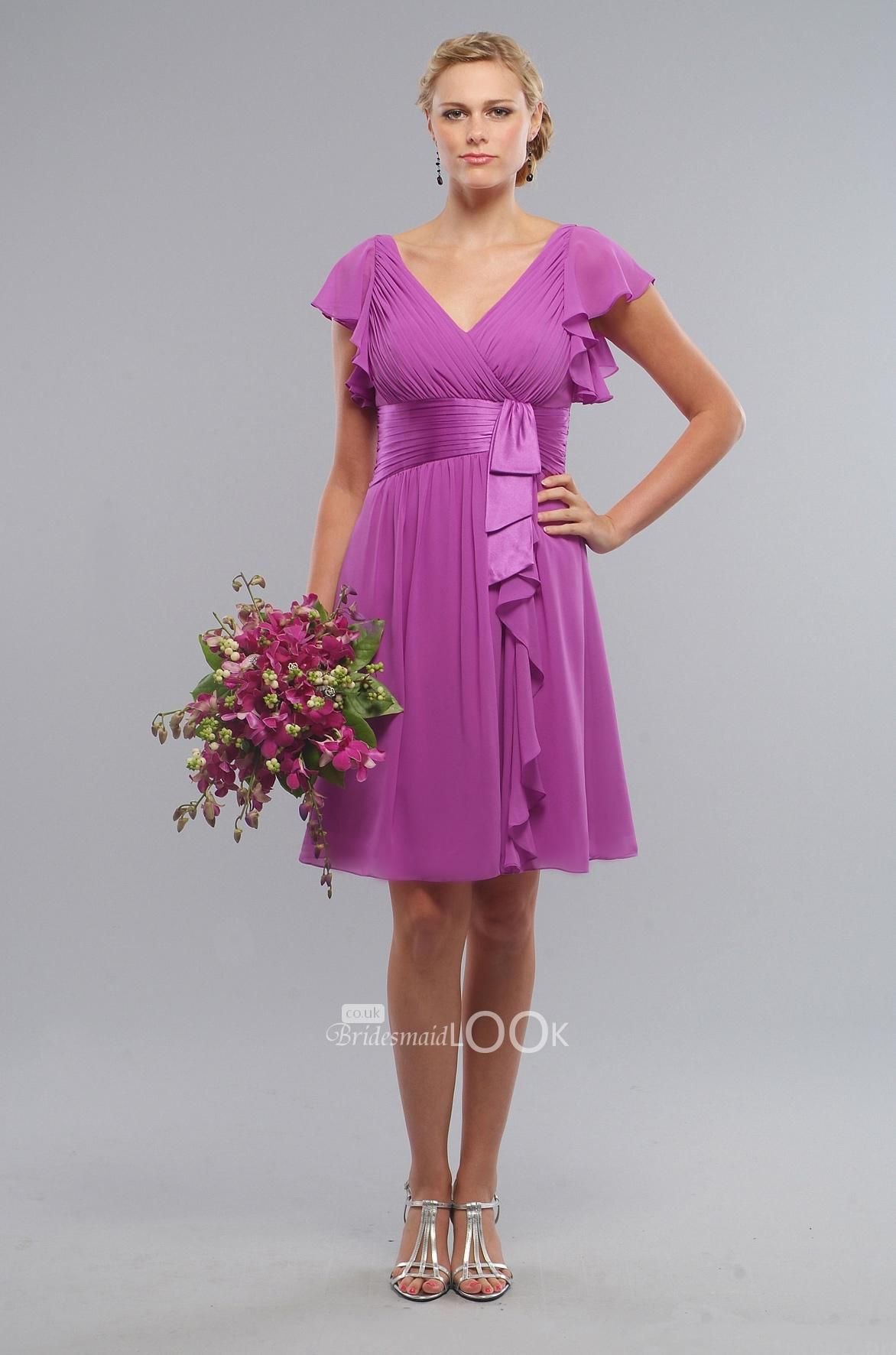 Coral bridesmaid dresses with sleeves coral short chiffon vneck