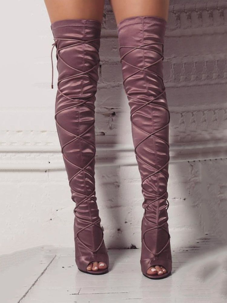 Lace-up Knee-high Thin Heels Boots