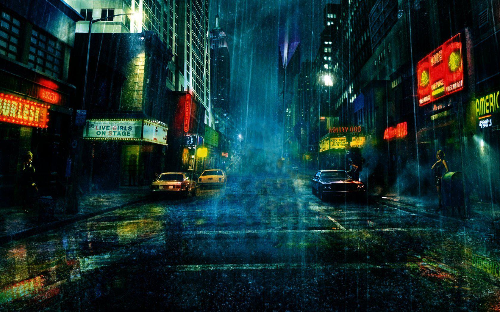 Street And Rain Wallpaper 1680x1050 Rain Wallpapers City Wallpaper City Rain