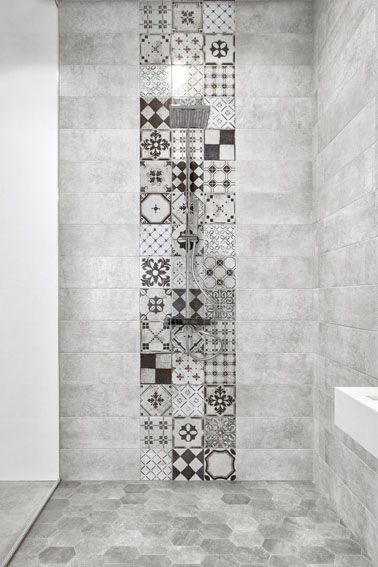 beautiful floor to ceiling bohemian tile feature in stunning grey walk shower also tekno  statuario bathroom pinterest