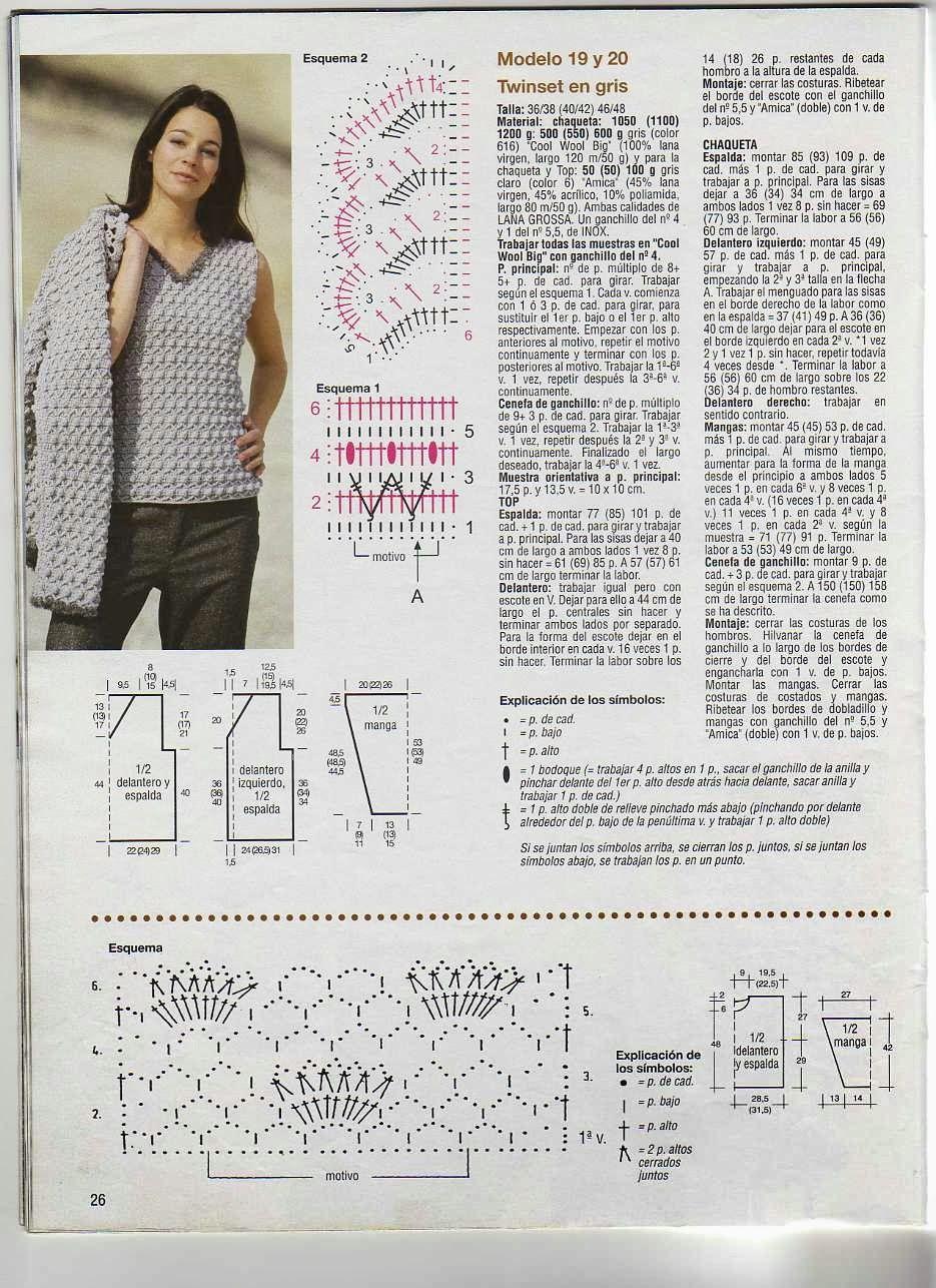 Chaqueta Twinset en Gris Patron - Patrones Crochet | Tejidos ...