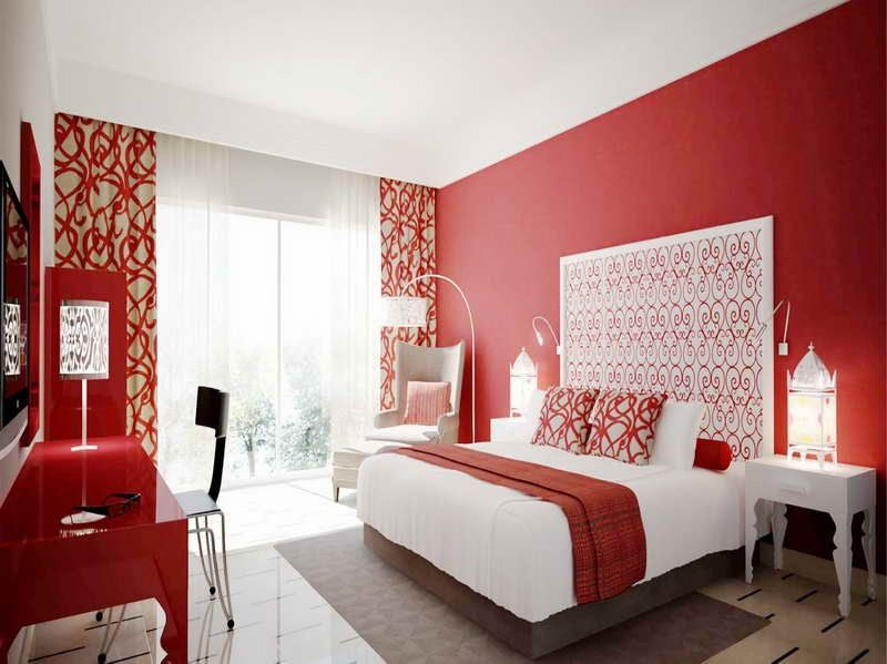 Decorating with red walls google search mission condo for Master bedroom wall ideas
