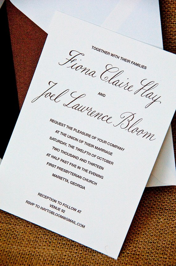 Understated Elegance Hand Calligraphy Wedding Invitation