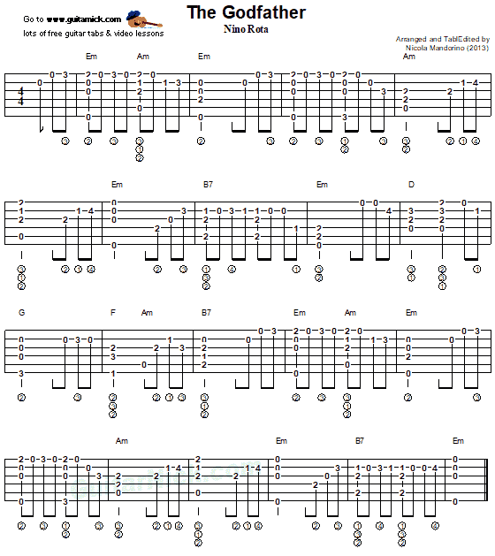 The Godfather Fingerstyle Printable Pdf Tab Sheet Guitarnick On Patreon Guitar Tabs Fingerstyle Guitar The Godfather