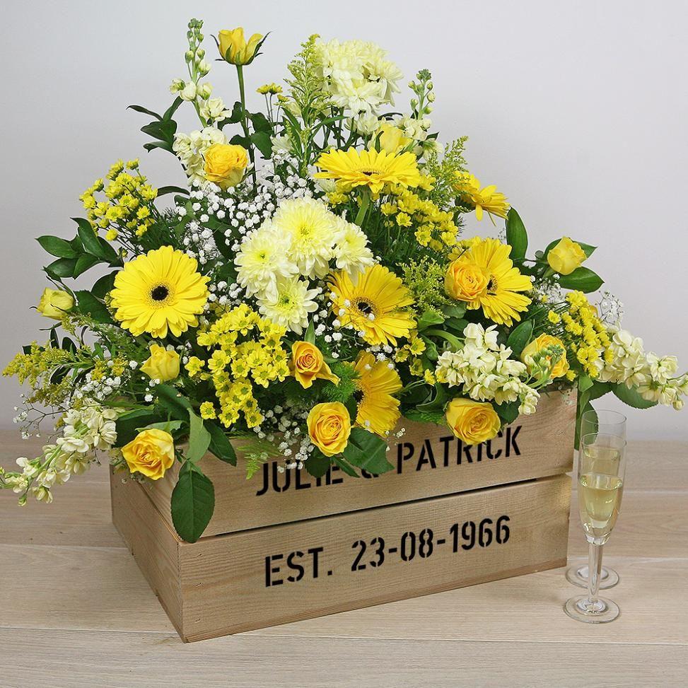 Golden Wedding Anniversary Personalised Crate Golden